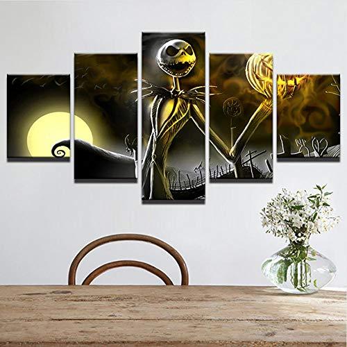 unst Bilder Rahmen Wohnkultur Wohnzimmer Halloween Poster 5 Stücke HD Gedruckt Nightmare Before Christmas Malerei-40x60cmx2 40x80cmx2 40x100cmx1 ()