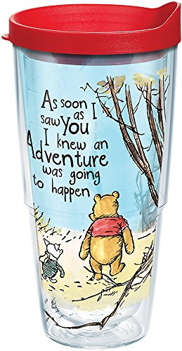bba39b1f46d Tervis 1269252 Disney Winnie the Pooh Adventure Wrap Tumbler with Red Lid  24 oz Clear