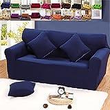 - Sofabezug für elastisch für Dekoration Haus und Wohnzimmer in Farbe Pure Schutzhülle Schutz der Möbel für 4Sitzer, marineblau, 4 places