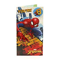 Age 8 Birthday Card - Spiderman Birthday Card with Birthday Badge, 8th Birthday, Ideal Gift Card for Kids - Includes Colour In Activity Inside - Marvel