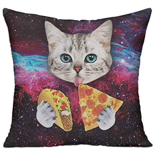 Doormat-bag Galaxy Taco Cat Pizza Cushion Cover Square Throw Pillow Case for Sofa Bedroom Car - Inserts Are Not Included - 18