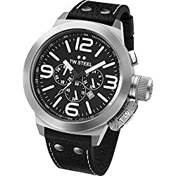 TW Steel Unisex Quartz Watch with Black Dial Chronograph Display and Black Leather Strap TW4
