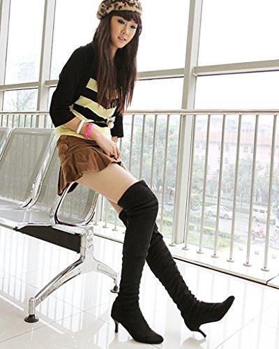 Minetom Femme Hiver Sur Le Genou Bottes Suède Chaussures Pointed Toe Longue Bottes Mode Cuisse Haute Bottes Noir