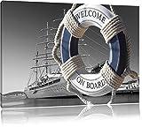 Rettungsring im Hafen schwarz/weiß Format: 100x70 auf Leinwand, XXL riesige Bilder fertig gerahmt mit Keilrahmen, Kunstdruck auf Wandbild mit Rahmen, günstiger als Gemälde oder Ölbild, kein Poster oder Plakat