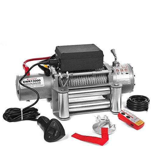 Elektrische Seilwinde Motorwinde 12V 5909 KG 6,0 PS inkl. Funkfernbedienung Silber