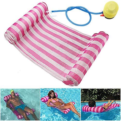 GEYUEYA Home Wasserhängematte Lounge Stuhl Luftmatratze Schwimmende Wasserbett Matte Swim Aufblasbare Kopf für Erwachsene und Kinder Rosa 120kg
