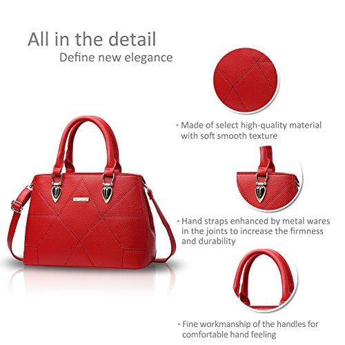 NICOLE&DORIS Le donne / signore adattano la borsa di Crossbody della borsa della spalla sacchetto sveglio Resistente all'acqua Totes morbido PU Rosso Rosso