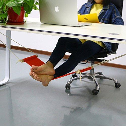 Reposapiés portátil con forma de hamaca de TradePro; para casas u oficinas para relajar y descansar los pies, color naranja