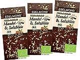Edelmond Bio Mandel & Salz Milch-Schokolade mit gutem 54% Kakaoanteil. Passt toll zum Wein. Fair Trade Kakaobohnen und geröstete Mandel (3er Pack)