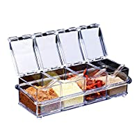 ParaCity Kitchen Gourmet Acrylic Seasoning Box with 4 Serving Spoons, Nice Design for Kitchen (Seasoning Box)