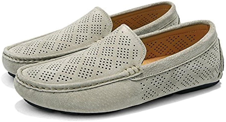 Easy Go Shopping Herren Driving Loafers Atmungsaktive Perforation Echtes Leder Oberen Boot Mokassins Grille Schuhe