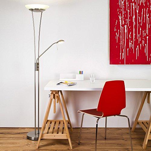 Balthasar 18W LED Deckenfluter mit 1600 Lumen, inkl. 4,5W LED Lesearm mit 380 Lumen, 3000K warmweiß, Dimmer, Metall / Glas weiß