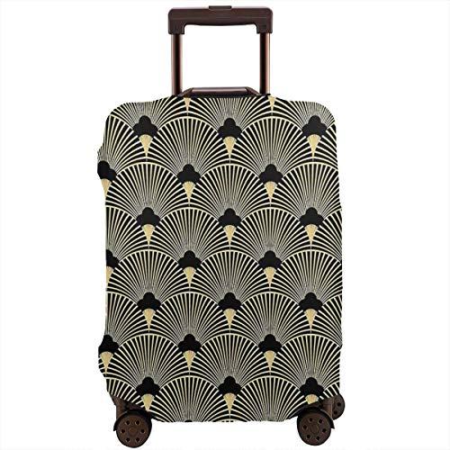 Art Deco, Fächermuster, Vintage, Era, Gold, Schwarz, Elegant, Chic, Reisegepäckabdeckung, passend für 66-71 cm Koffer (Gold-koffer Vintage)