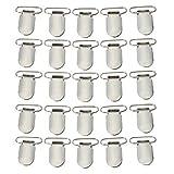 SUMERSHA Schnuller Hosenträger Knopf befestigt 1 Inch die Schnullerhalter Clips Lätzchen Spielzeughalter 25pcs (Silbern)