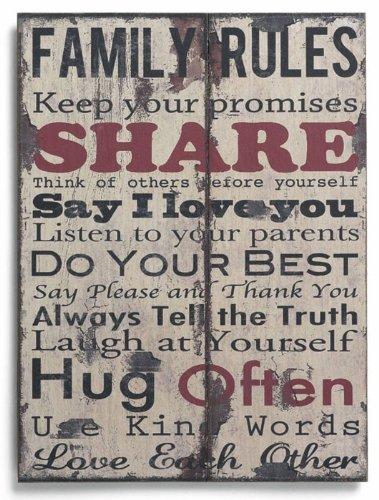 10213 Wanddekoration / Wandschild Family Rules - Share in roter Schrift, Gealtertes-Holzbrett-Design