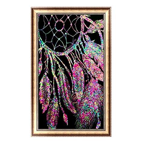 Aobuang 5D Kit de pintura de diamantes, para manualidades, taladro completo, imitación de diamante, para decoración de la pared, regalo, atrapasueños, 30 x 48 cm A