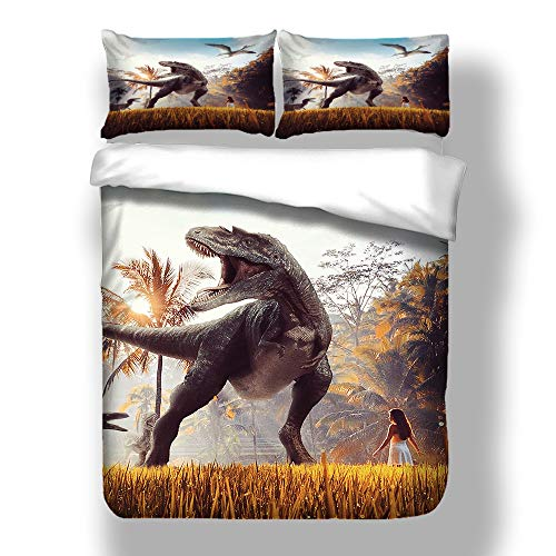 Fansu Juego de Ropa de Cama 3 Piezas Poliéster Microfibra Dinosaurio Juego de Fundas de Edredón Incluye 1 Funda Nórdica y 2 Funda de Almohada (145x200cm-2pcs,El Raptor)