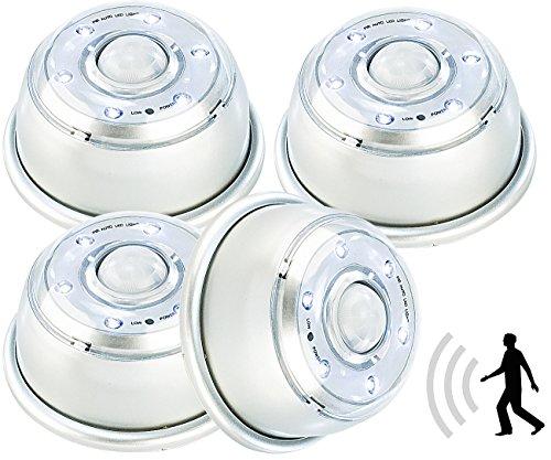 Lunartec LED-Sensorlicht: LED-Nachtlicht mit Bewegungsmelder & Magnethalterung 4er-Set (LED-Möbelleuchte)