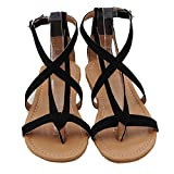 Fuibo Womens Flat Wedge Espadrille Rom Krawatte Damen Sandalen Plattform Sommer Schuhe (40, Schwarz)
