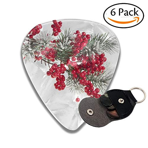 Wxf Christmas Fir Branch With Red Berries Stylish Celluloid Guitar Picks Plectrums For Guitar Bass 6 Pack.96mm - Rainbow Light Berry