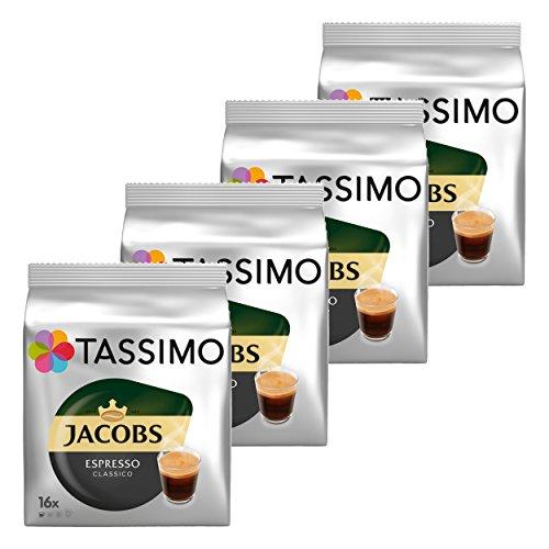 Tassimo Jacobs Espresso, Capsule Caffé, Caffé Tostato Macinato, 4 x 16 T-Discs
