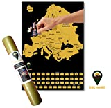 Global Walkabout Scratch Off Carte de l'europe avec Drapeaux Fond-Deluxe Mini Format Voyage European Map Poster-Pays et générale-Cadeau de Voyage...