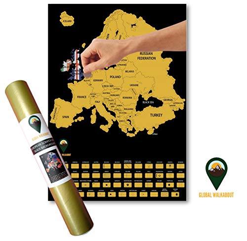 Póster mapamundi Walkabout Scratch Off Europe Banderas