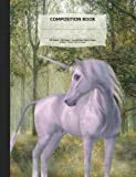 "Unicorn Magical Forest Composition Notebook, Unruled Blank Sketch Paper: 100 sheets / 200 pages, 9-3/4"" x 7-1/2"""
