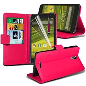 EE Harrier Leather Wallet Case Cover (Hot pink) Plus Free Gift, Screen Protector and a Stylus Pen, Order Now Best Valued Phone Case on Amazon! By FinestPhoneCases