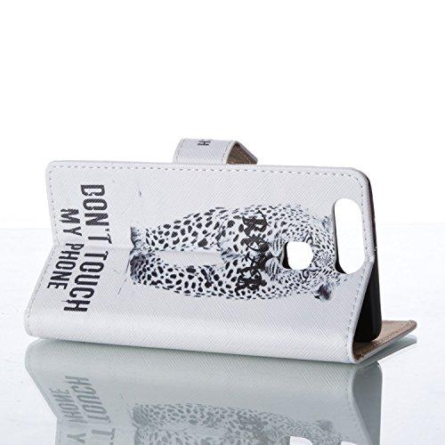 Cozy Hut Schutzhülle / Cover / Hülle / Handyhülle / Etui für Huawei P9 Bunt Muster Design Folio PU Leder Tasche Case Cover im Bookstyle mit Standfunktion Kredit Kartenfächer mit Weich TPU Innere - Tod berühren Sie nicht mein Telefon