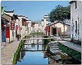 ygghj Malen-nach-Zahlen digitales Ölgemälde DIY mit kleinen Städten im Süden des Jangtse-Flusses Picture Drawing (40X50Cm)