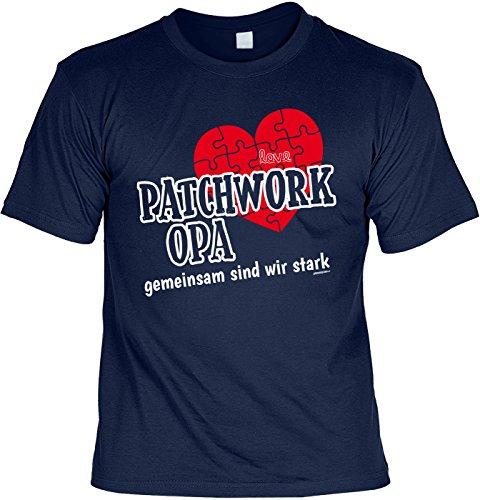 Geschenk für Opa T-Shirt Patchwork Opa gemeinsam sind wir stark Geschenkidee Opa lustiges Shirt für Opa Vatertag Großvater Funshirt Navyblau