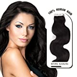 "Melodylocks 18"" Tape in Remy Human Hair Extensions 20 Pieces(pcs), 30g, Wavy #1b Natural Black"