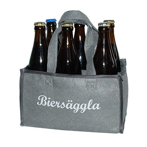 Preisvergleich Produktbild hochwertige Original-Flaschentasche, Bier, Biersäggla, Männerhandtasche heimatkuss, Männergeschenk für Bier, Geschenkidee Vater, Vatertagsgeschenk, witziges Geschenk
