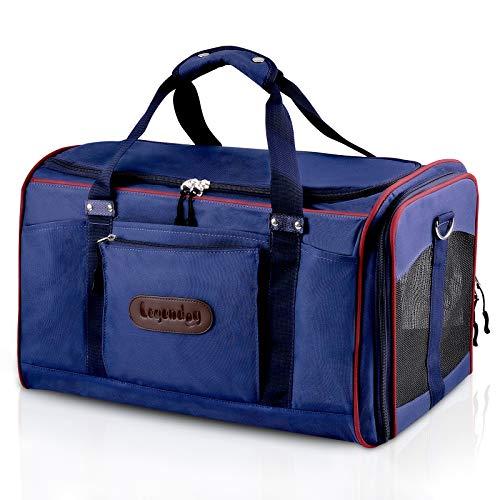 Transporttasche Katze, Legendog Faltbar Airline Genehmigt Transportbox für Katzen mit Matte| Katzenbox Transportbox | Leichte Reisetasche Tasche | für Große Katzen Kaninchen 51*32*33 CM Blau