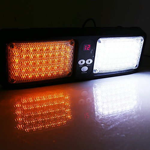 VGEBY 12V Feux Stroboscope 86 LED Lumière Strobe Urgence D'alarme sur Brise-soleil Voiture - 7 Couleurs ( Couleur : Amber+White )