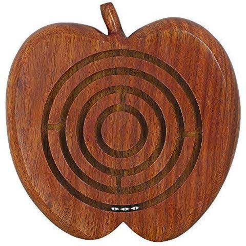 Laberinto bola de juego de mesa en el laberinto juego juego de mesa - madera tablero de juego juego de laberinto casa decoración -13.2 x 12,7 x 2,5 cm