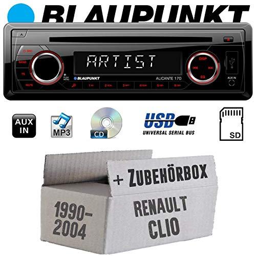 Renault Clio 1 +2 - Autoradio Radio Blaupunkt Alicante 170 - CD/MP3/USB - Einbauzubehör - Einbauset