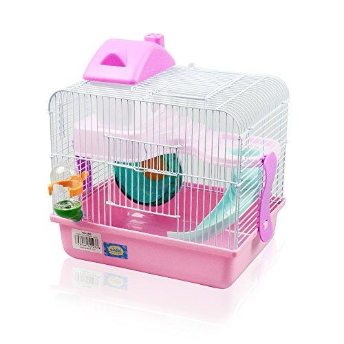 DI ZE LIN PET HOME S.L DZL® Jaula para hamster 27*21*25cm caseta rueda bebedero comedero y escalera incluidos (Rosa)