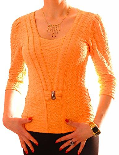 PoshTops Damen Bluse mit Rundhalsausschnitt Dehnbares Strukturiertes Material Damenshirt 3/4 Puffärmel Größen S