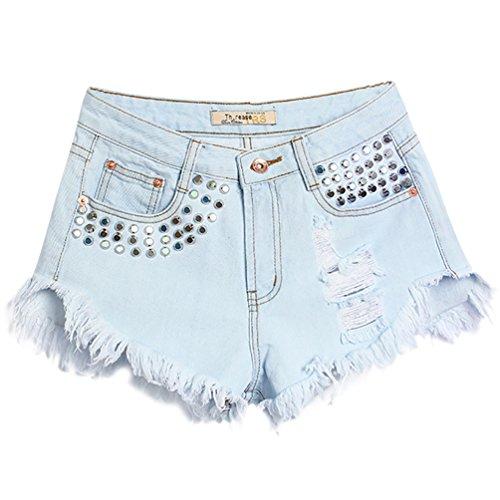 Baymate Frauen Weinlese Hohe Taille Jeans Loch Kurz Jeans Denim Shorts mit Niet Hell Blau 2
