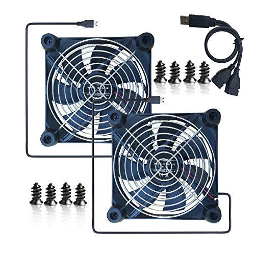 Meres USB Cooling Fan with Double grilles and rubber Feet for airport Express router, HDD Case, PS, Xbox, Cooling Pad for Time Capsule with the Size 120 x 120 x 25 mm -