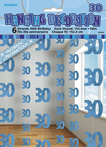 5ft Hanging Glitz Blue 30th Birthday Decorations, Pack of 6