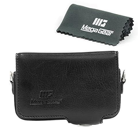 MegaGear Etui en cuir avec boucle de ceinture pour Sony DSC-RX100M V, Sony DSC-RX100M II, Sony DSC-RX100M III, RX100 IV - Noir
