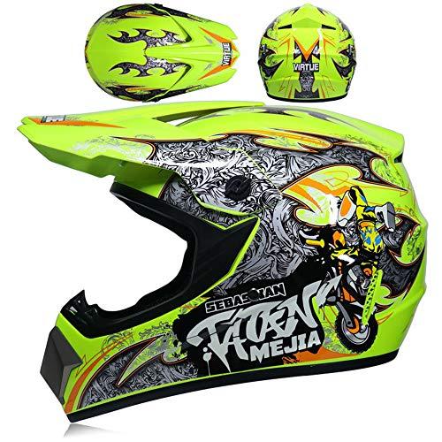 GZYTY Offroad-Helm Motorrad-Offroad-Helm Racing Lightweight Mountain Integralhelm Schutzbrille Fuchshelm, Yellow Kid-S