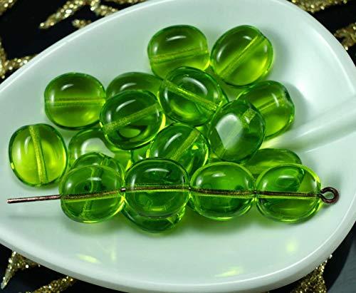 Vert clair tchèque en Verre Ovale et Plate de la Tablette en Forme de Perles de 10mm x 9mm 18pcs