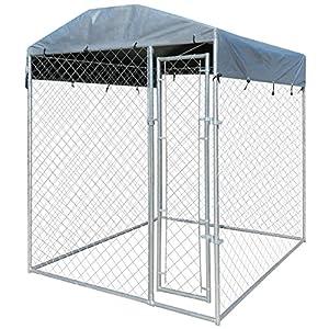 Chenil extérieur pour chien avec toit en bâche 200 x 200 x 235 cm
