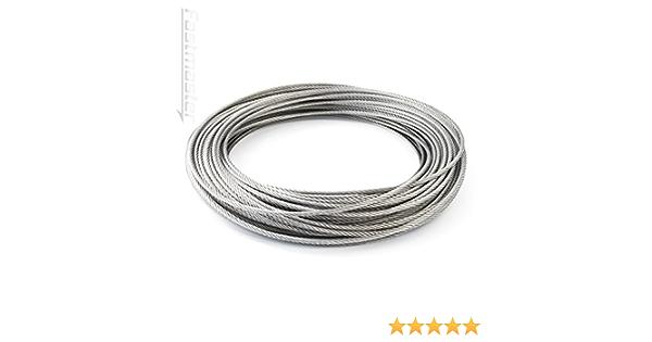 35m Edelstahl Drahtseil 7x19 TOP WARE Stahlseil Seil Draht Stahl V4A INOX A4 rostfrei Gel/änder Edelstahlseil DQ-PP 8mm