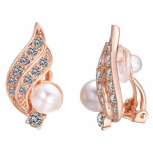 Yoursfs Boucles d'oreilles à clip 18k Or plaqué Pendantes en Cristal australien et Perle forme d'Ailes d'ange pour Femme comme cadeau Anniversaire Mariage Saint Val