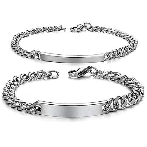 JewelryWe DIY Pulseras Parejas Acero Inoxidable, Simple Pulido Pulsera Brazalete de Amor, Dorado Oro(Un par) Grabado Personalizado